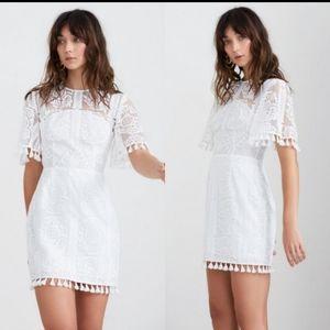 Finders Keepers White Spectrum Tassel Mini Dress S